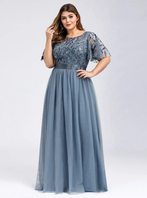 Wear a Classic Plus Size Dusty Navy Tulle Sequins Horn Sleeve Prom Dress