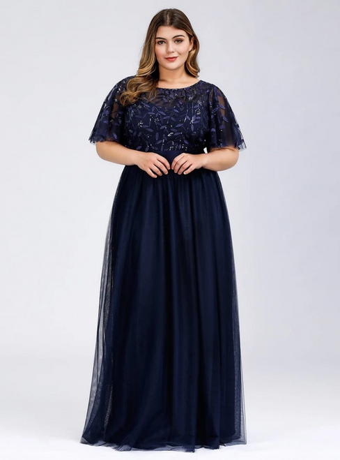 Shop For The Perfect Plus Size Navy Blue Tulle Sequins Horn Sleeve Prom Dress