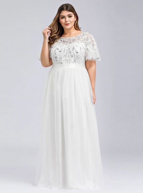 Shop Online Plus Size White Tulle Sequins Horn Sleeve Prom Dress