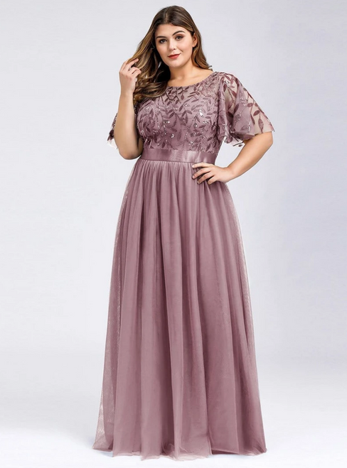 With Kemedress, You'Ll Find Plus Size  Purple Orchid Tulle Sequins Horn Sleeve Prom Dress