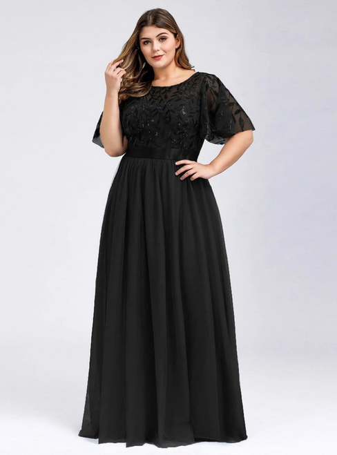 Shop An Amazing Selection Of Plus Size Black Tulle Sequins Horn Sleeve Prom Dress