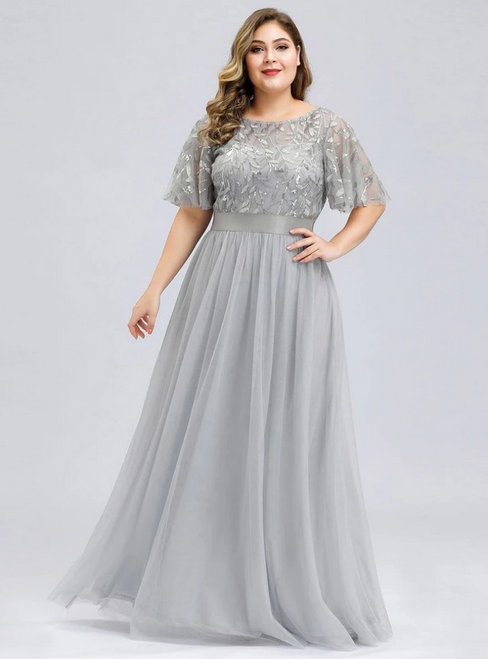 Shop 2020 Plus Size Silver Gray Tulle Sequins Horn Sleeve Prom Dress