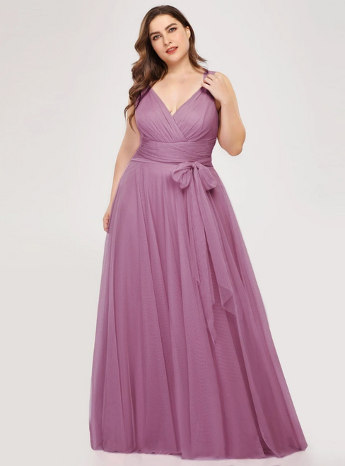 Free Shipping Purple Orchid Tulle V-neck Plests Sleeveless Prom Dress