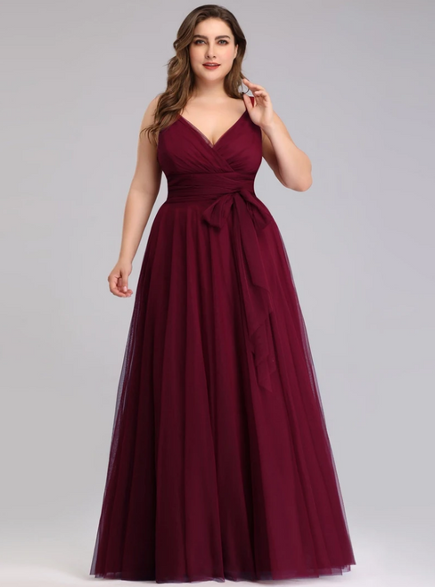 You'Ll Want Plus Size Burgundy Tulle V-neck Plests Sleeveless Prom Dress