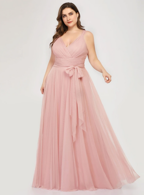 2020 Great Choice Plus Size Pink Tulle V-neck Plests Sleeveless Prom Dress
