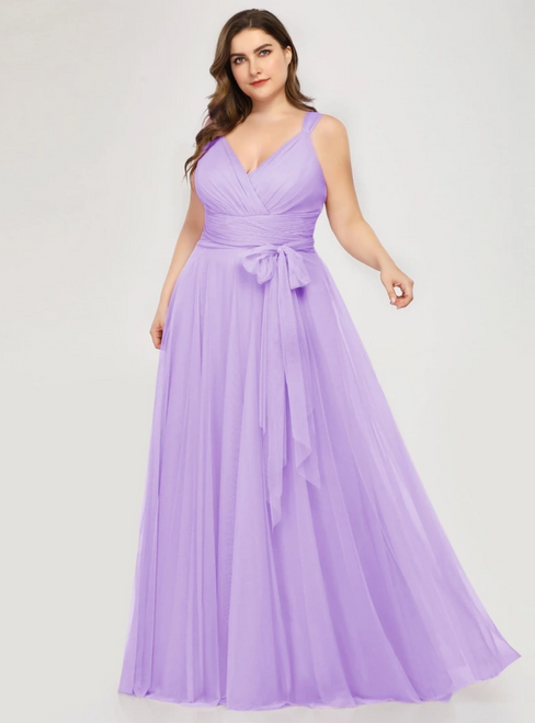Find Plenty Of Plus Size Lavender Tulle V-neck Plests Sleeveless Prom Dress