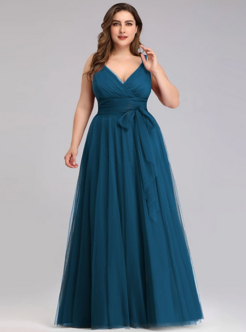 100% Custom Made Plus Size Teal Tulle V-neck Plests Sleeveless Prom Dress