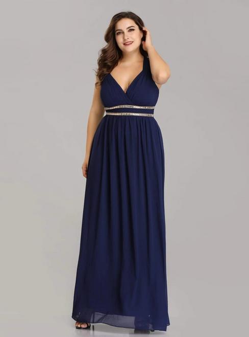 Low Price Guarantee Navy Blue Chiffon V-neck Pleats Open Back Plus Size Prom Dress