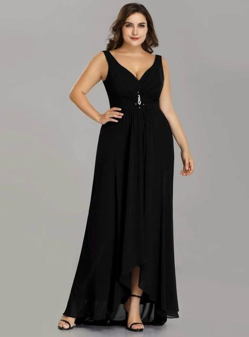 Buy More, Save More Black Chiffon V-neck Hi Lo Pleats Plus Size Prom Dress