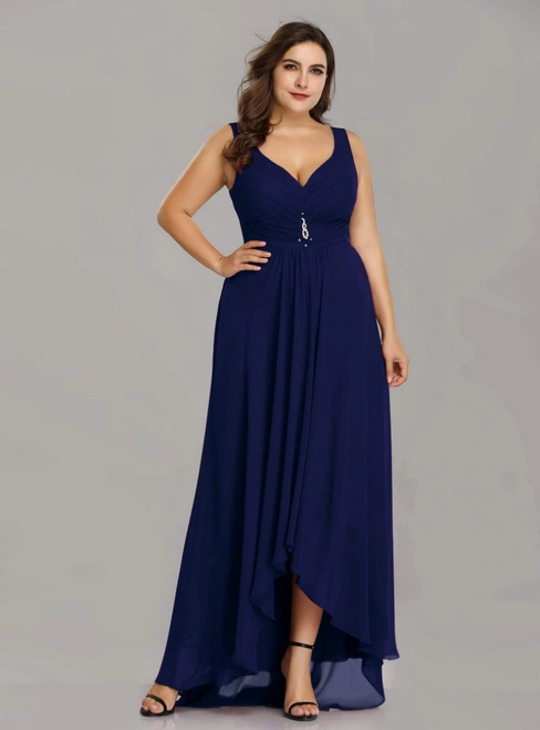 Find All Of The Latest Styles Navy Blue Chiffon V-neck Hi Lo Pleats Plus Size Prom Dress