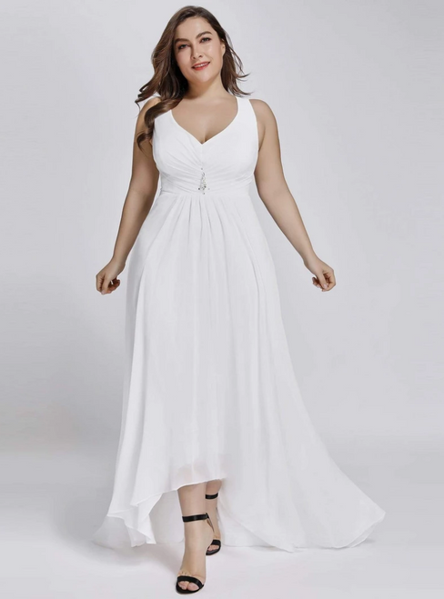 Be The Prom Queen White Chiffon V-neck Hi Lo Pleats Plus Size Prom Dress