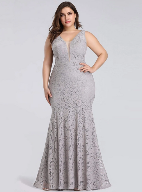 Don't Miss The Amazing & Affordable Gray Mermaid Lace V-neck Sleeveless Long Plus Size Prom Dress