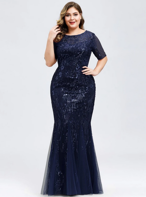 Shop This Selection Of Navy Blue Mermaid Sequins Tulle Short Sleeve Plus Size Prom Dress