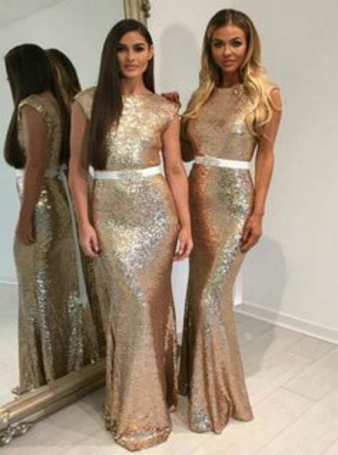 Mermaid Bateau Floor-Length Cap Sleeves Backless Gold Sequined Bridesmaid Dress with Sash