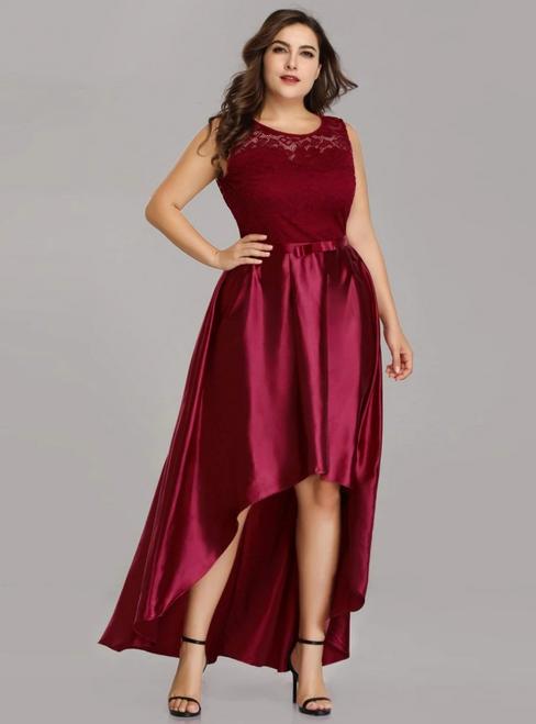 Buy Simple Burgundy Satin Lace Hi Lo Plus Size Prom Dress