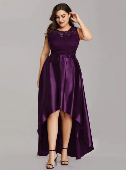 The Best Discount Dark Purple Burgundy Satin Lace Hi Lo Plus Size Prom Dress