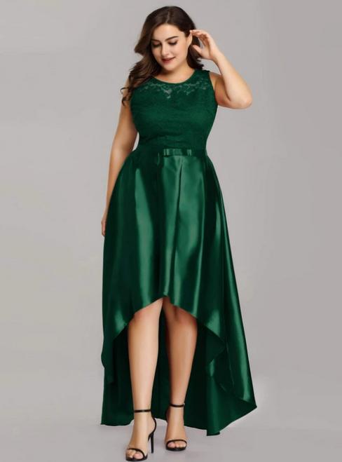 Shop For Cute A-Line Pink Burgundy Satin Lace Hi Lo Plus Size Prom Dress
