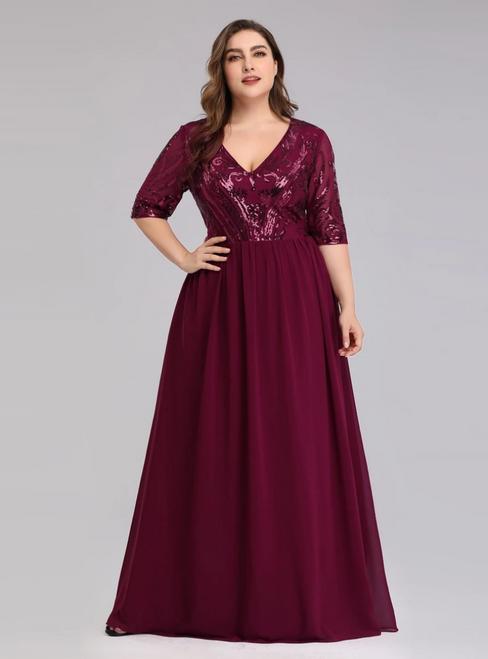 The Cheap Price Burgundy Chiffon Sequins V-neck Short Sleeve Plus Size Prom Dress