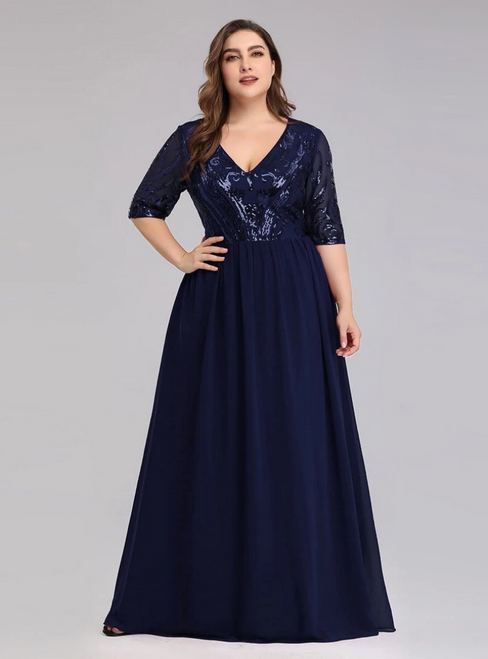 Enjoy The Navy Blue Chiffon Sequins V-neck Short Sleeve Plus Size Prom Dress