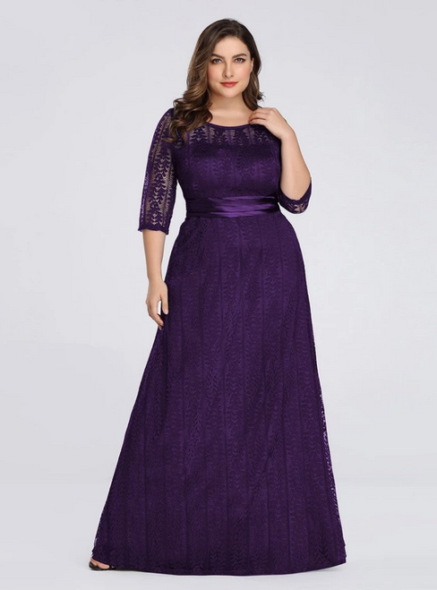 We Specialize In Custom Made Dark Purple Lace Half Sleeve Long Plus Size Prom Dress