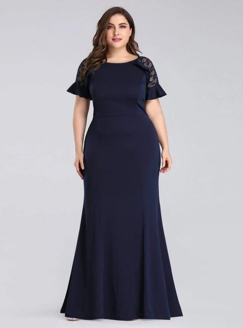 Brand New Navy Blue Mermaid Satin Short Sleeve Plus Size Prom Dress