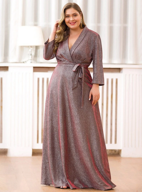 Find The Perfect Burgund Deep V-neck Long Sleeve Plus Size Prom Dress