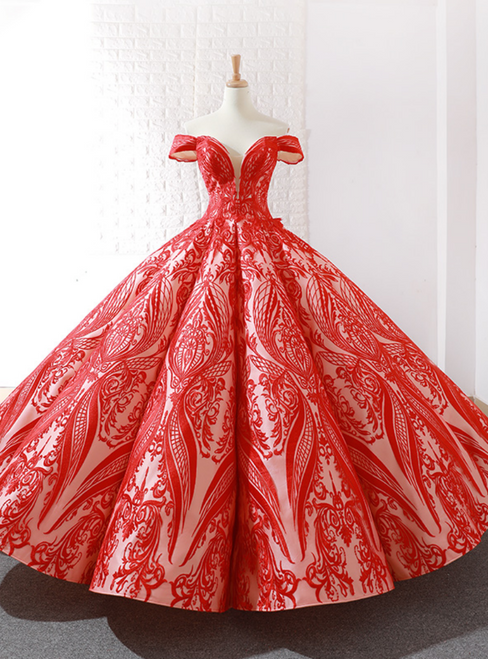 Shop Long Champagne And Red Sequins Ball Gown Off The Shoulder Prom Dress