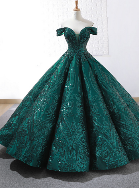 Buy The Newest Dark Green Sequins Ball Gown Off The Shoulder Prom Dress
