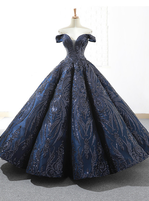 Be The Prom Queen In Navy Blue Sequins Ball Gown Off The Shoulder Prom Dress