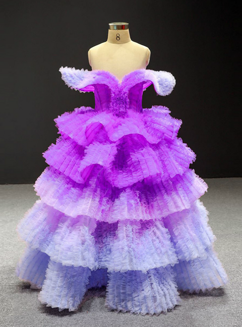 Never Miss Out On Purple Ball Gown Tulle Tiers Off the Shouler Flower Girl Dress