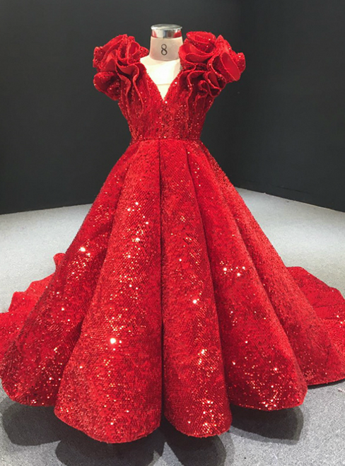 You Can Be The Star Red Ball Gown Sequins Ruffles V-neck Flower Girl Dress With Train