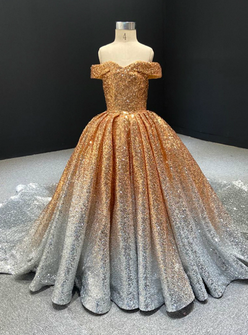 Find The Perfect Shade Of Gold And Silver Ball Gown Sequins Off the Shoulder Flower Girl Dress With Train