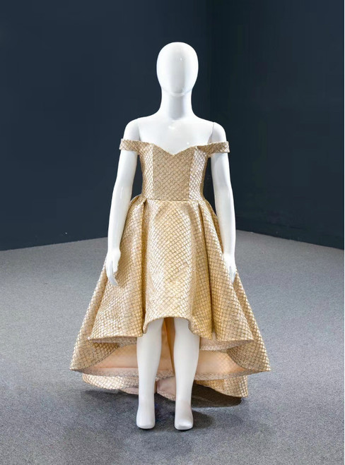Buy From Gold Ball Gown Sequins Hi Lo Off the Shoulder Flower Girl Dress