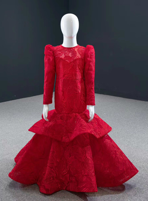 A Great Variety Of Red Mermaid Lace Sequins Long Sleeve Backless Flower Girl Dress