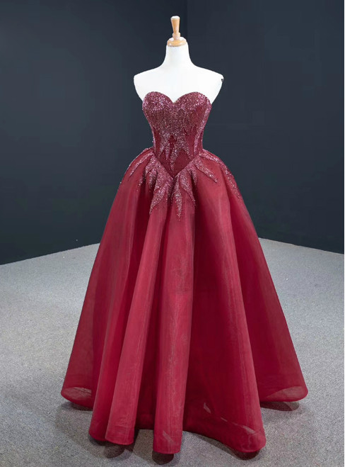 Order Your Ideal Sexy Burgundy Tulle Sweetheart Beading Long Prom Dress