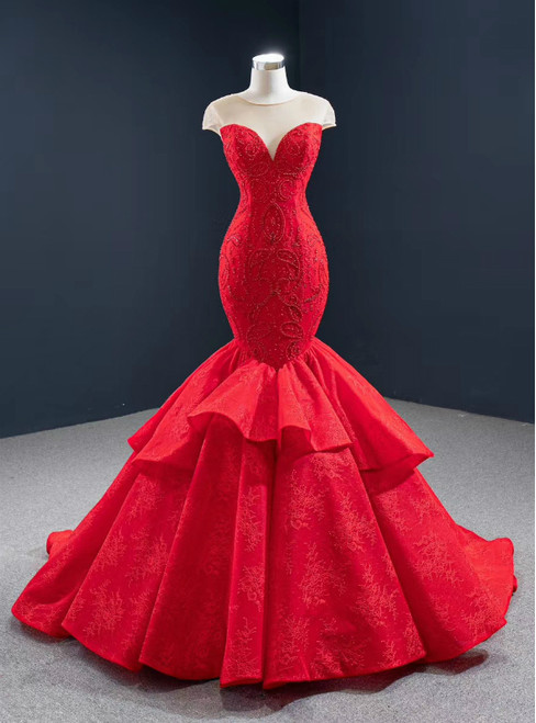 We Offer a Large Numbers Of Red Mermaid Lace Cap Sleeve Beading See Through Neck Prom Dress
