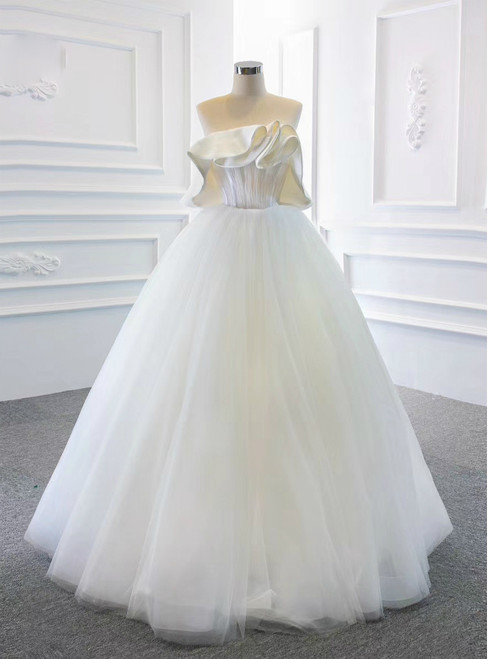 We Offer a Variety Of White Ball Gown Tulle Strapless Pleats Long Prom Dress