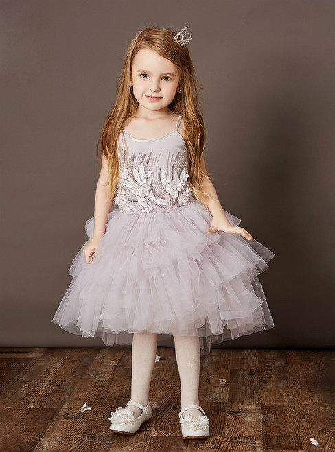 Discover The Latest Purple Tulle Hi Lo Spaghetti Straps Appliques Flower Girl Dress