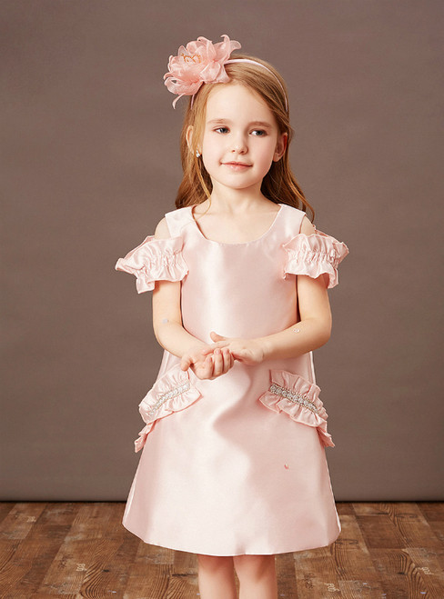 Purchase Your Favorite A-Line Pink Satin Ruffles Short Flower Girl Dress