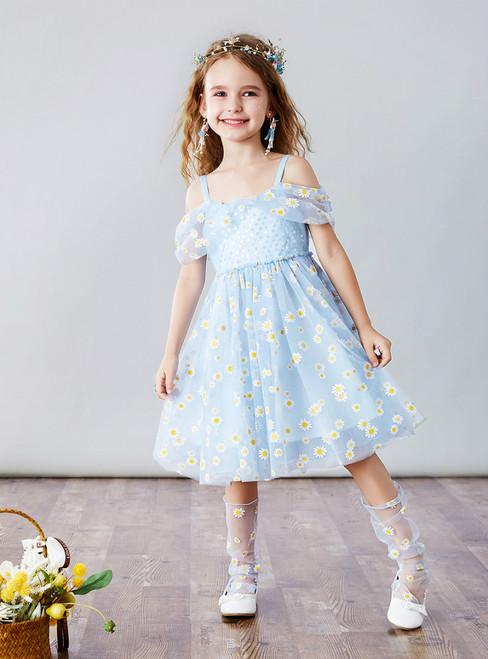 We Provide Blue Tulle Spagehtti Straps Little Daisy Flower Girl Dress