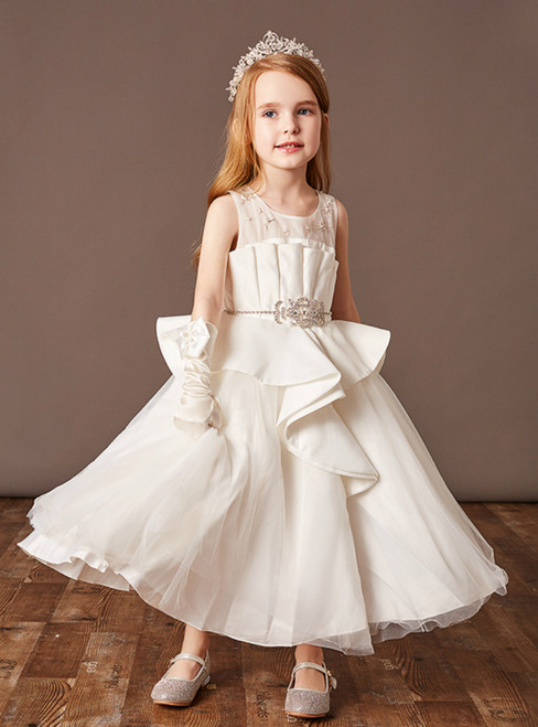 You Are Sure To Find The Perfect White Ball Gown Tulle Satin Sleeveless Beading Flower Girl Dress