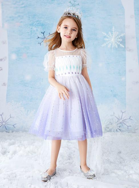 The Worldwide Shipping Online Store Purple White Tulle Sequins Short Sleeve Flower Girl Dress