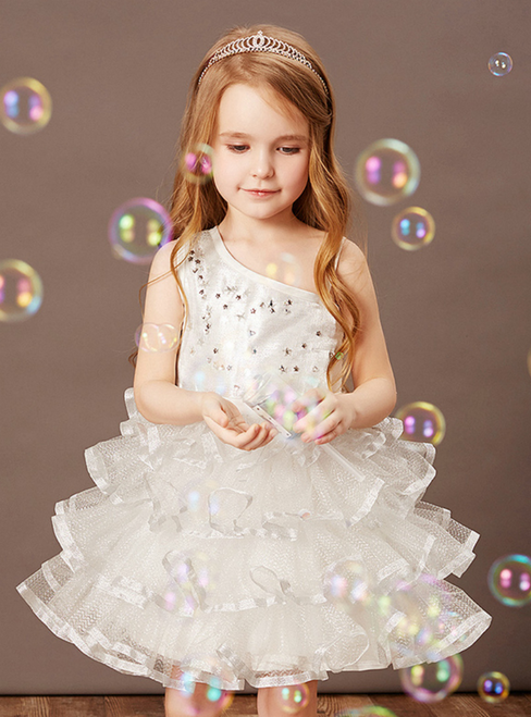 At Great Prices White Ball Gown Tulle One Sholder Beading Flower Girl Dress