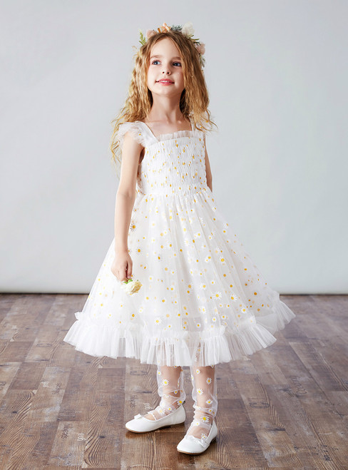 For Your Big Night White Tulle Straps Tea Length Little Daisy Flower Girl Dress