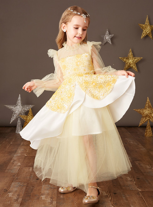 Available In Sizes 0-24 Yellow Tulle Sequins Long Sleeve Flower Girl Dress