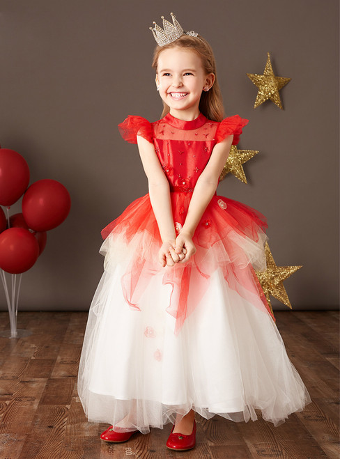 Discover The Latest Red And White Ball Gown Tulle Beading Flower Girl Dress