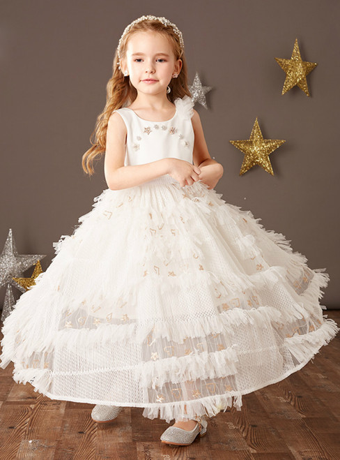 We Provide White Ball Gown Tulle Sleeveless Flower Girl Dress