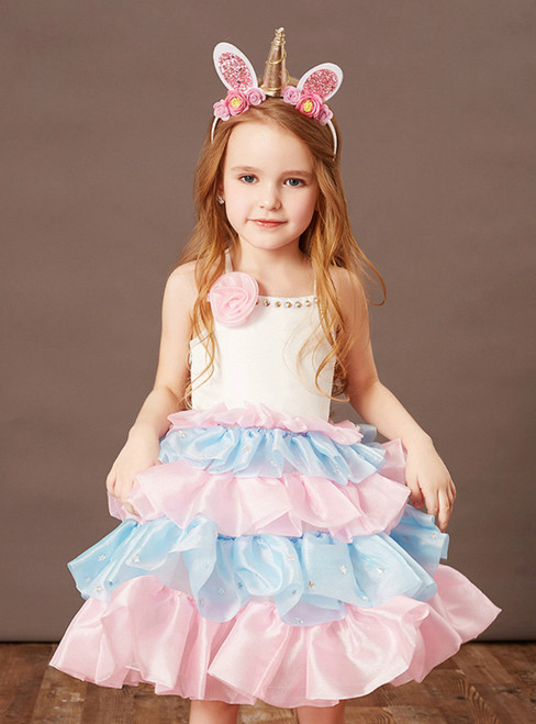 You Are Sure To Find The Perfect A-Line Pink Blue Satin Spaghetti Straps Flower Girl Dress