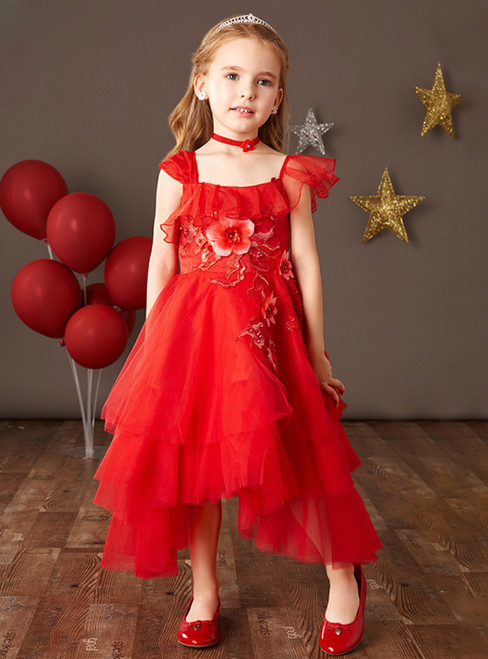 The Worldwide Shipping Online Store Red Tulle Asymmetry Neck Hi Lo Appliques Flower Girl Dress