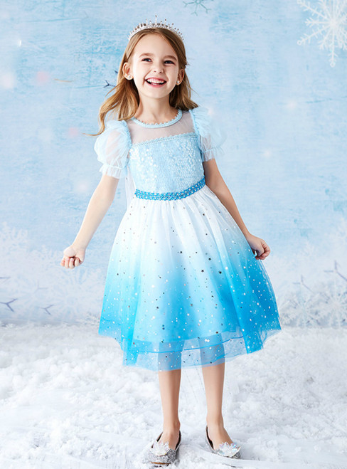 At Great Prices Blue Tulle Sequins Short Sleeve Knee Length Flower Girl Dress